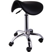 Sadelstol med hjul, Sort PU, 58-77 cm