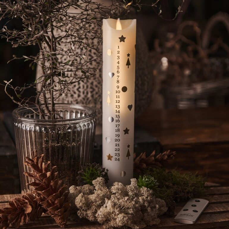 Sirius LED kalenderlys i hvid/guld/sølv