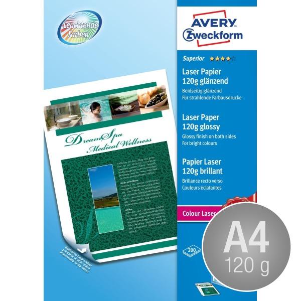 Avery laser fotopapir, glossy, A4/120g/200ark