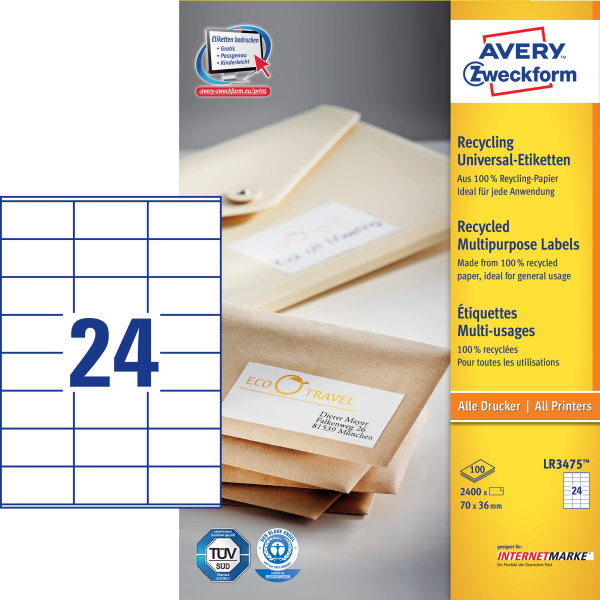 Avery LR3475 adr.etiketter, 70 x 36mm, 2400stk