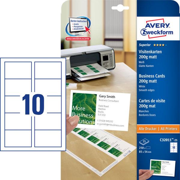 Avery C32011 visitkort, mat, laser/inkjet, 200g