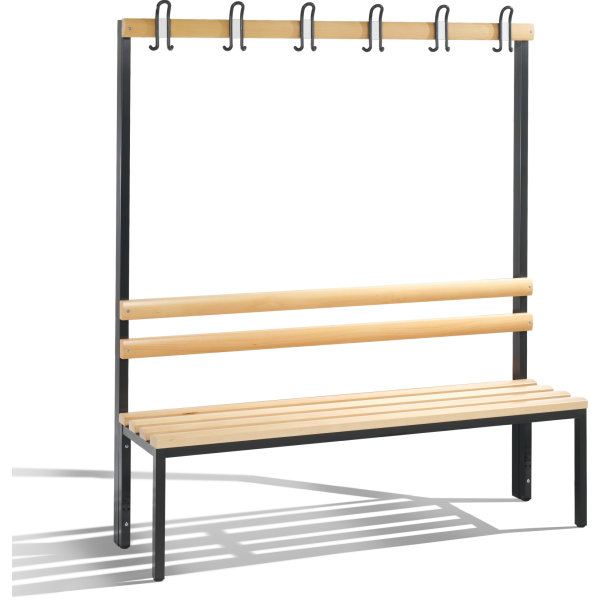 CP enkeltsidet bænk med knagerække, 150 cm