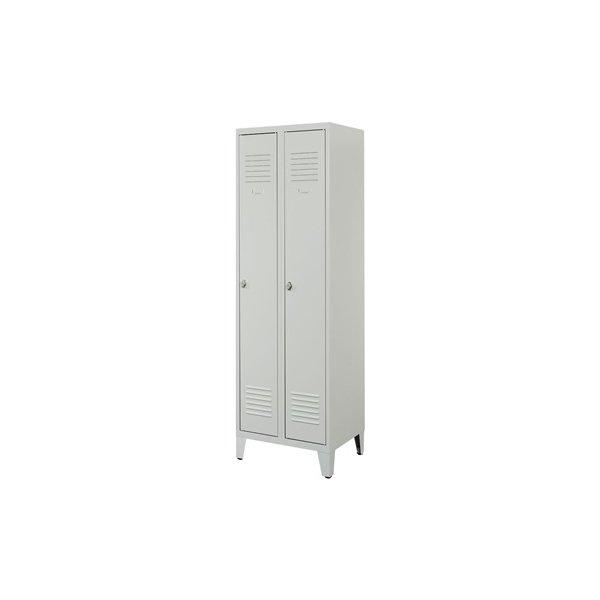 Proff garderobeskab, 2x1 rum,Ben,Hængelås,Grå