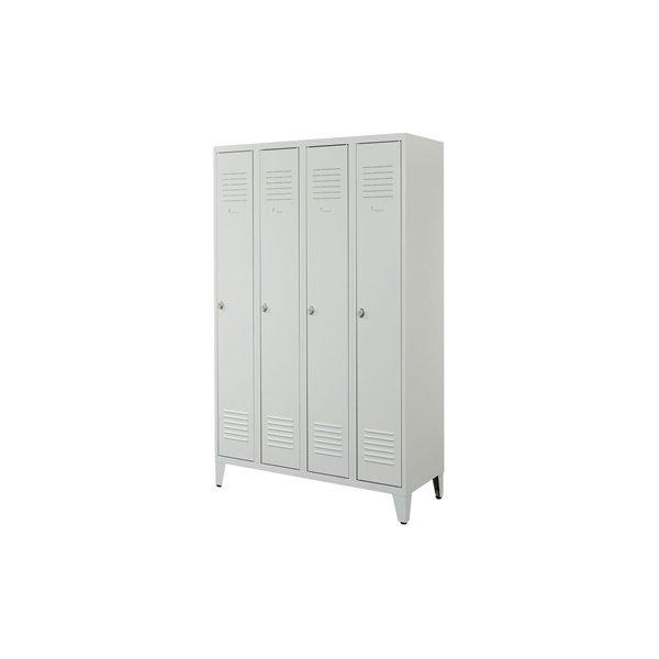 Proff garderobeskab, 4x1 rum,Ben,Hængelås,Grå