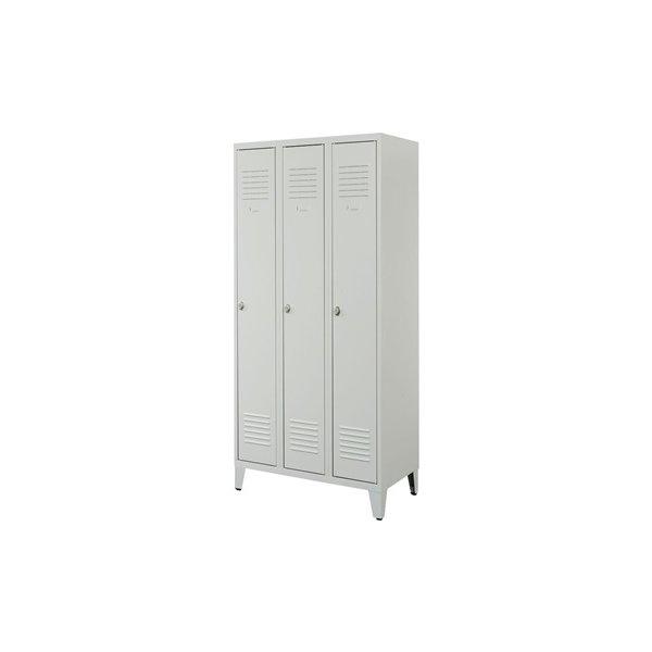 Proff garderobeskab, 3x1 rum,Ben,Hængelås,Grå