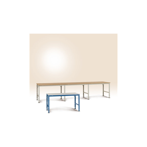 Manuflex arbejdsbord 150x80, Grå melamin, Tilbygni