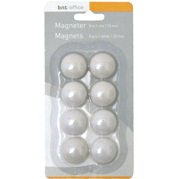 BNT/Office whiteboardmagneter 20mm, 8 stk, hvid