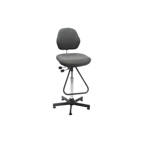 Aktiv arbejdsstol m/ fodbøjle, grå, stof