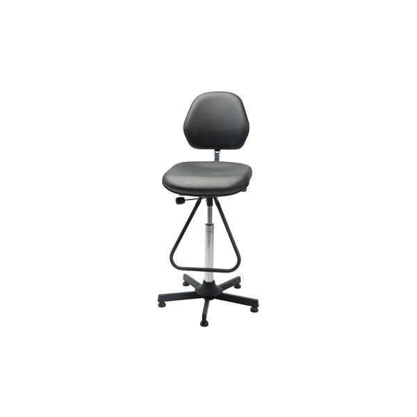 Aktiv arbejdsstol m/ fodbøjle, sort, kunstlæder