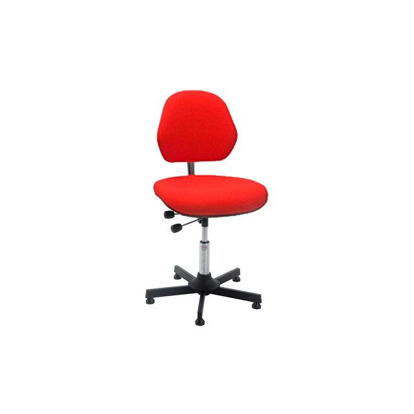 Aktiv arbejdsstol m/ glat søjle, rød, stof