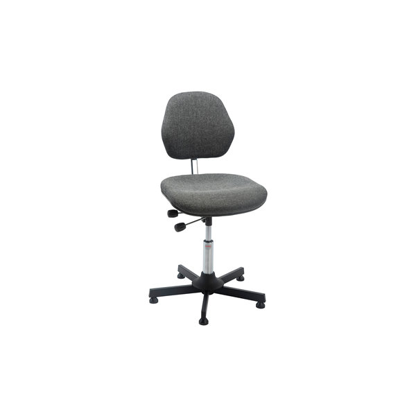 Aktiv arbejdsstol m/ glat søjle, grå, stof