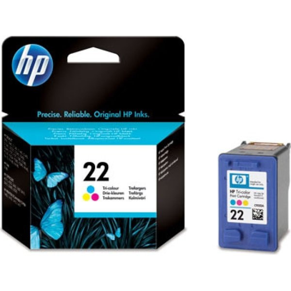 HP nr.22/C9352AE blækpatron, 3-farvet, 138 sider