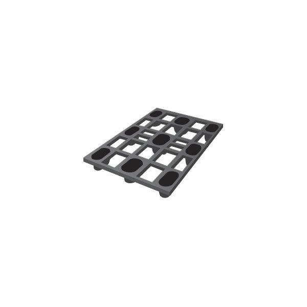 Letvægtspalle, l.1200xb.800xh.130 mm, sort