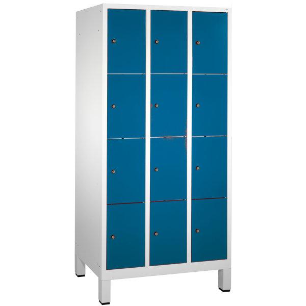 CP garderobeskab, 3x4 rum, Ben,Cylinderlås,Grå/Blå