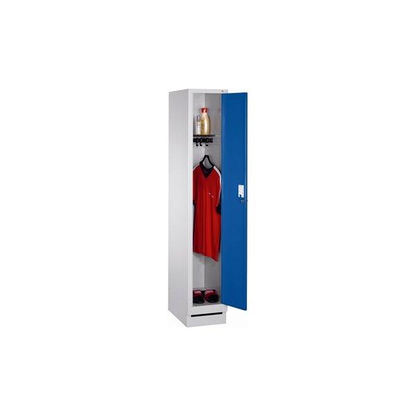 CP garderobeskab, 1x1 rum, Sokkel,Hængelås,Grå/Blå