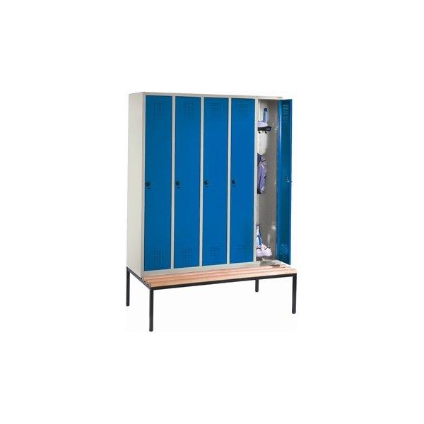 CP garderobeskab, 5x1 rum, Bænk, Hængelås, Grå/Blå