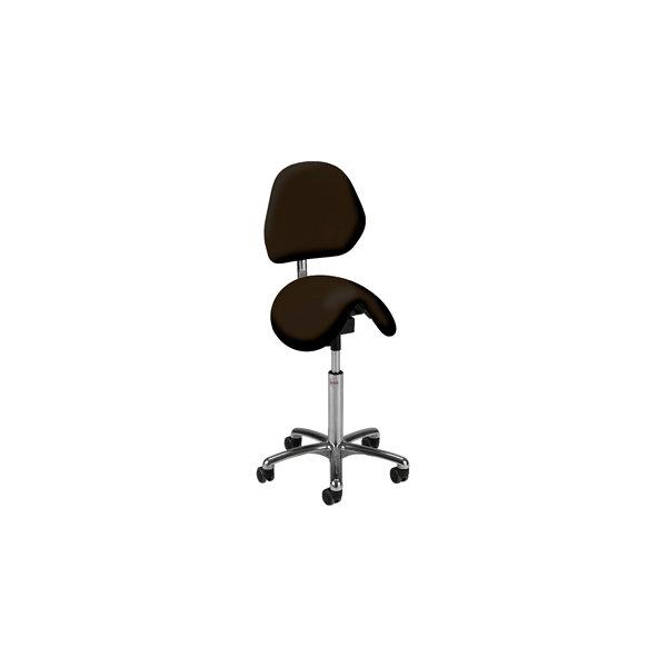 CL Dalton sadelstol m/ ryg,kunstlæder,sort,58-77cm