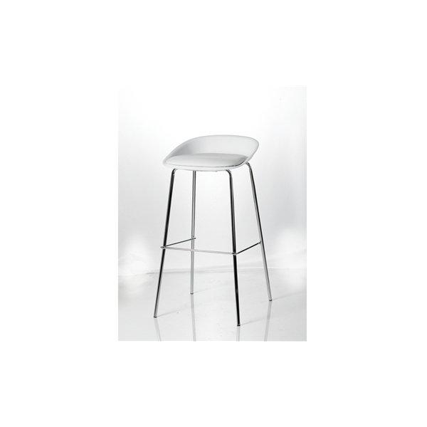 Detroit høj mødestol krom/hvid