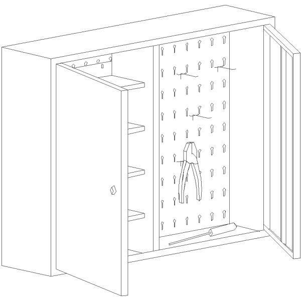Værktøjsskab model 1, 60x80x20, Blå