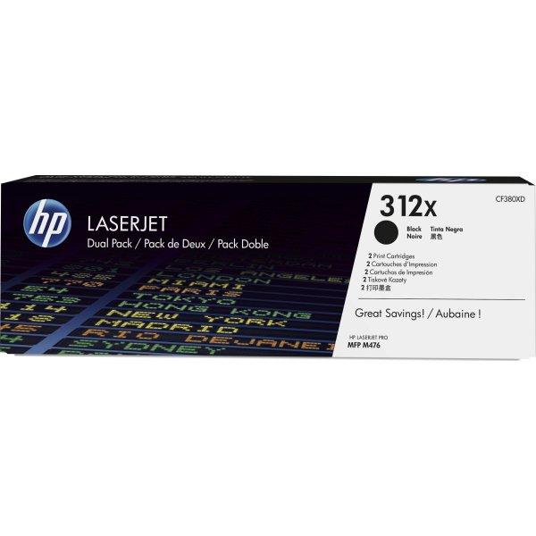 HP nr. 312X/CF380XD lasertoner, sort, 2 x 4400s.