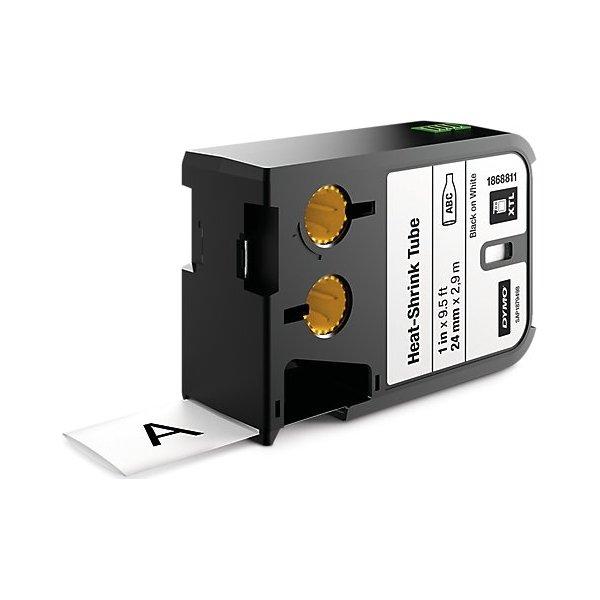 Dymo XTL, krympeflex tape, 24 mm, sort på hvid