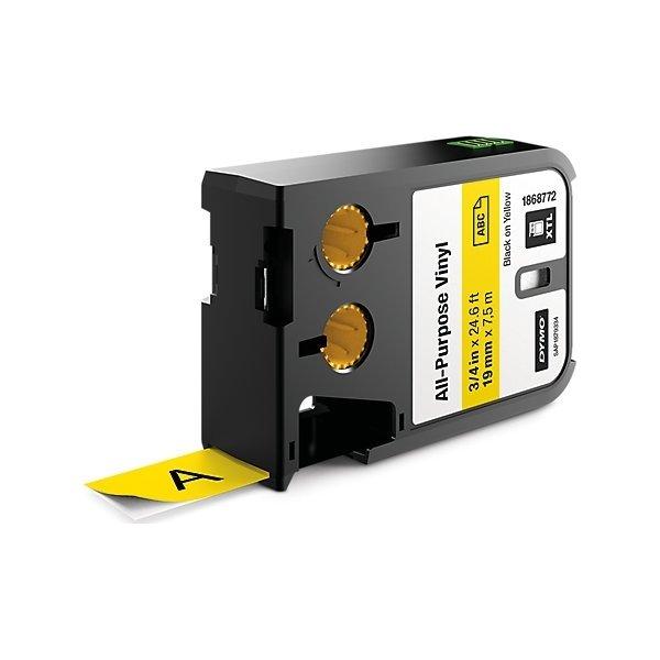 Dymo XTL, vinyltape, 19mm, sort på gul
