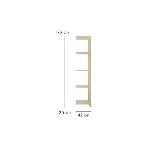 ABC Tilbygningsreol, HxBxD: 179x42x30 cm, natur