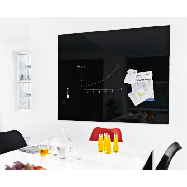 Glassboard magnetisk glastavle 120x150 cm, sort
