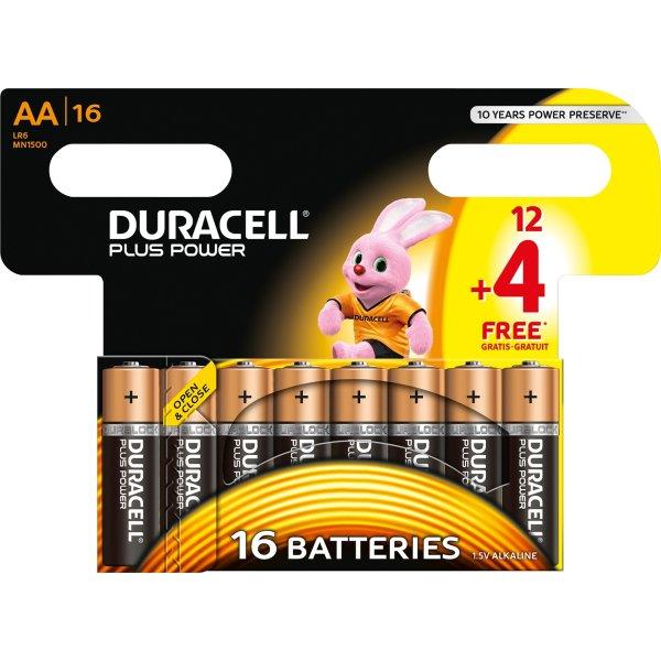 Duracell Plus Power AA batteripakke, 16 stk.