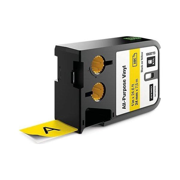 Dymo XTL, vinyltape, 24mm, sort på gul