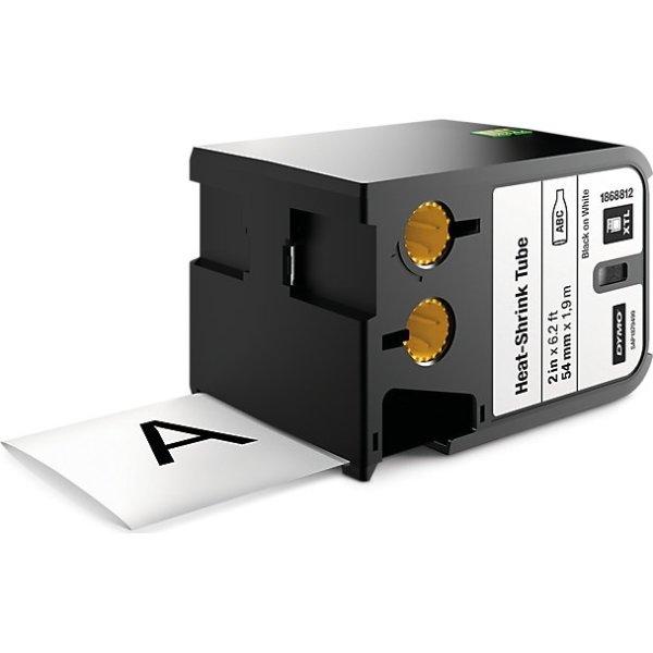 Dymo XTL, krympeflex tape, 54mm, sort på hvid