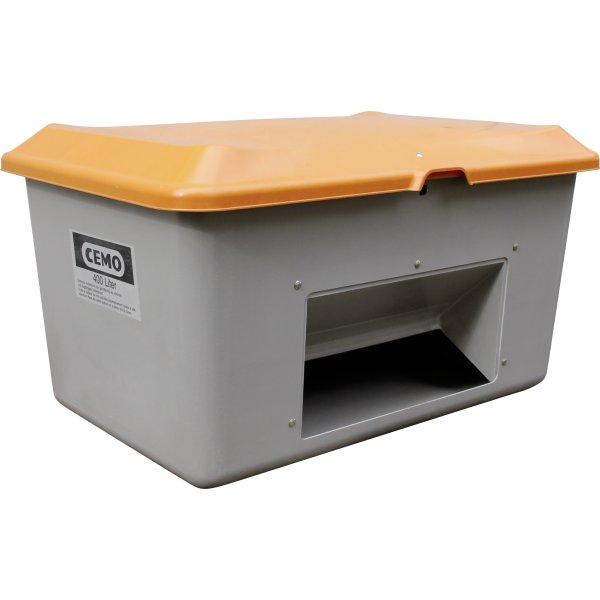 Salt-/sandbeholder 400 L, Bundåbning, Grå/orange