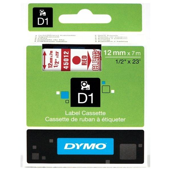 Dymo D1 labeltape 12mm, rød på klar