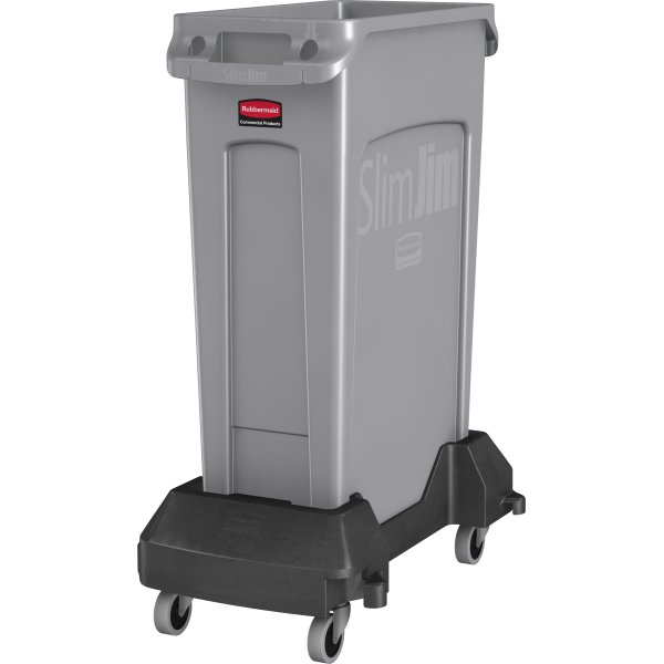 Vogn Rubbermaid Slim Jim affaldsbeholder, Sort