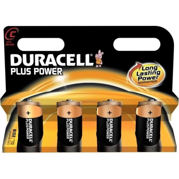 Duracell Plus Power C-batterier, 4 stk