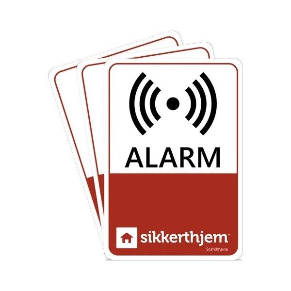 3stk. alarmmærkater til SikkertHjem alarm