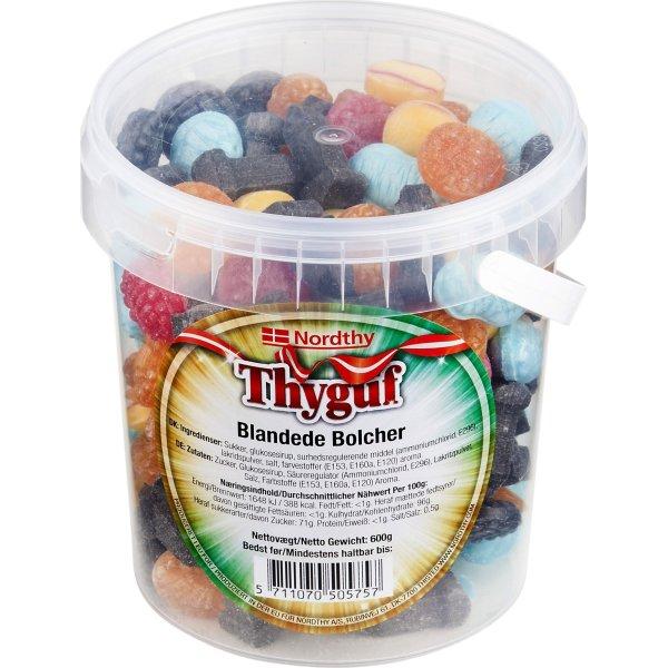 Thyguf Blandede Bolcher i spand, 600 g   Lomax A/S