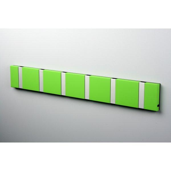 KNAX 6 knagerække, vandret, limegrøn/grå