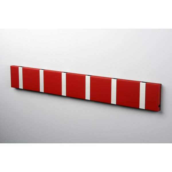 KNAX 6 knagerække, vandret, rød/grå