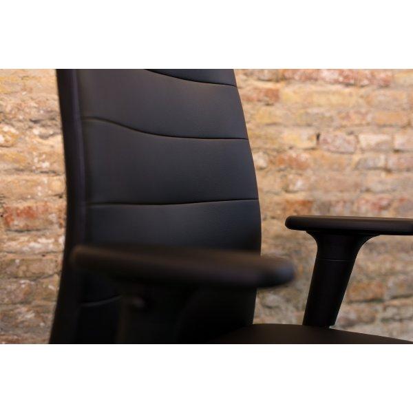 Kingston kontorstol i sort PU læder inkl. armlæn