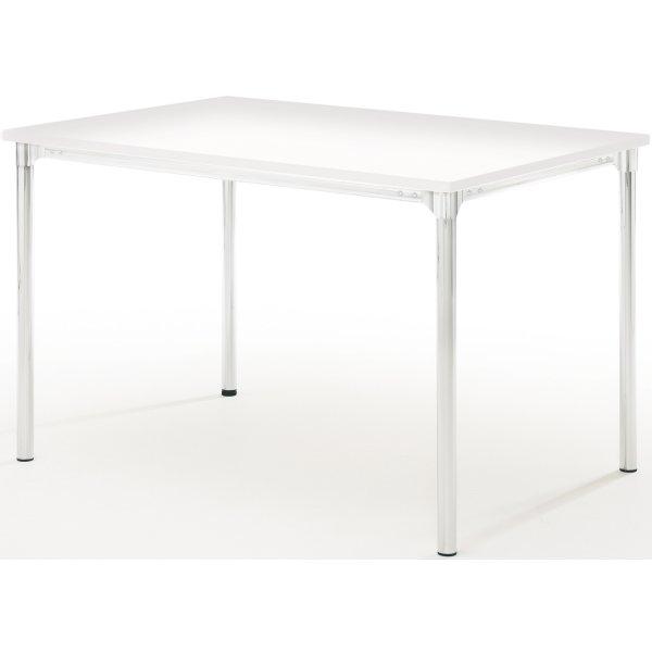 Eminent kantinebord 120x80 cm hvid laminat / krom