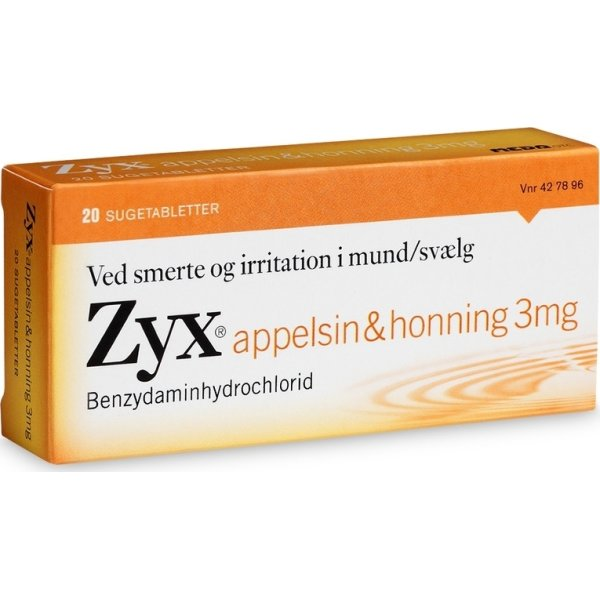 Zyx Sugetabletter m. appelsin & honning, 20 stk.