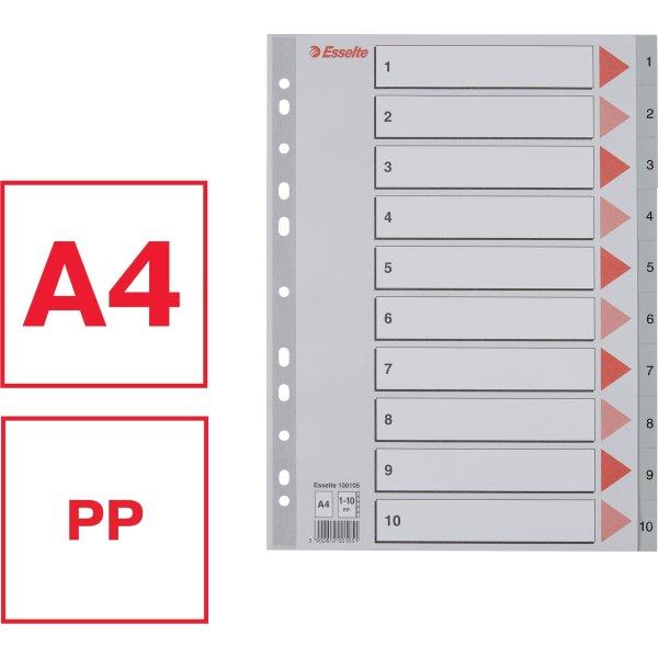 Esselte register A4, 1-10, plast, grå