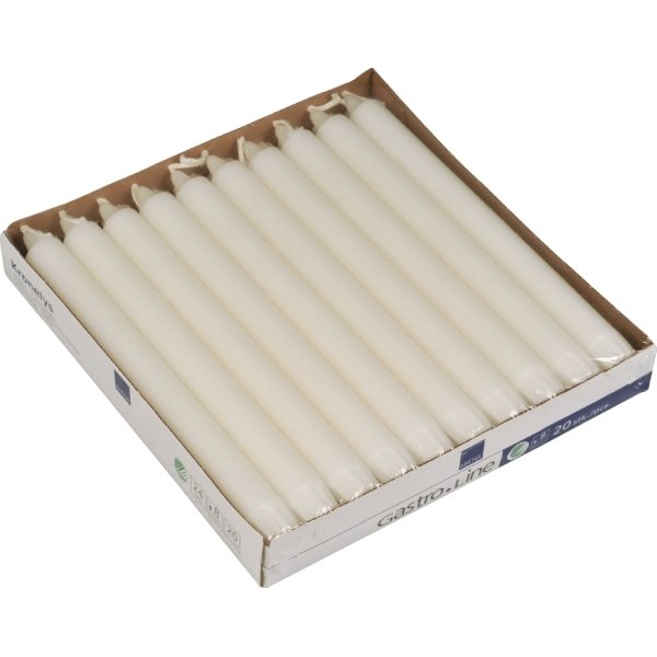 Kronelys i ren stearin 20 stk, 24 cm, hvid