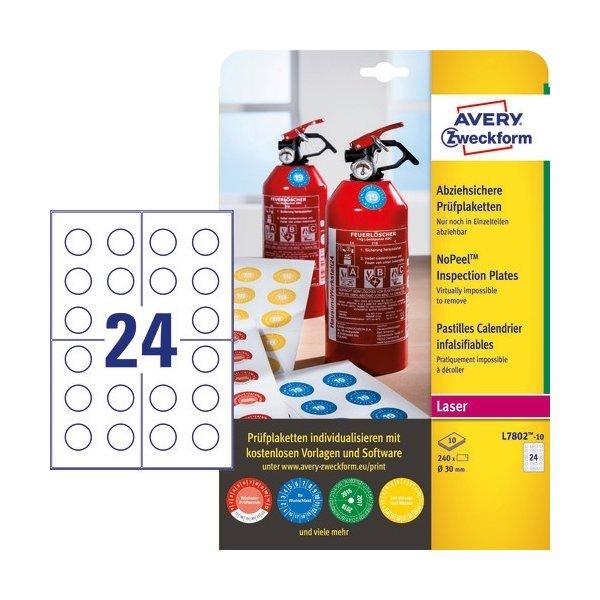 Avery Inspektionsdatoetiketter, NoPeel, Ø30 mm