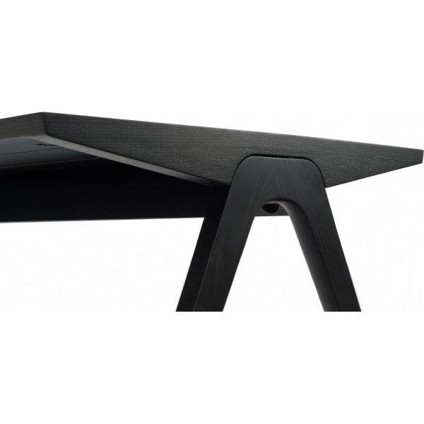 NOFU mødebord, Massivt asketræ sort, 180x85 cm