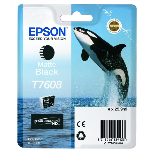 Epson T7608 blækpatron, mat sort, 25.9 ml.