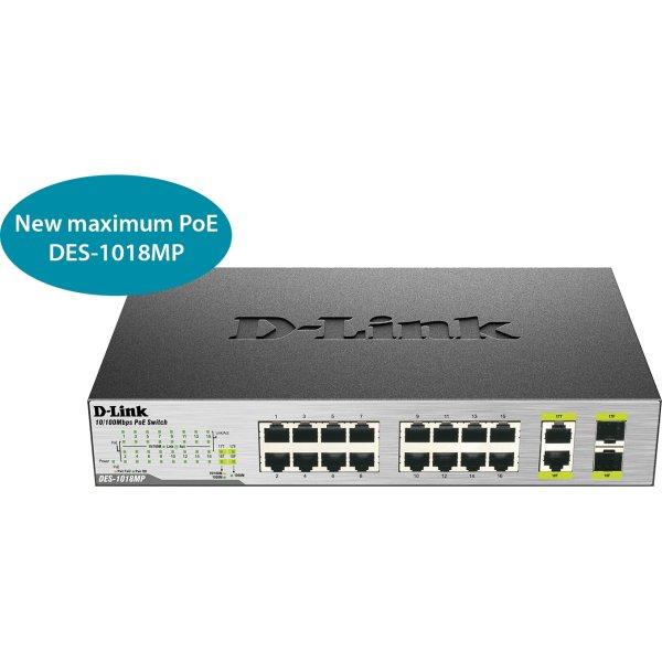 D-Link DES-10 18MP switch, 18 ports 10/100 (PoE)