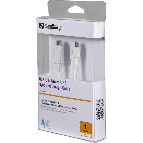 Sandberg USB-C til Micro USB kabel, hvid (1m)