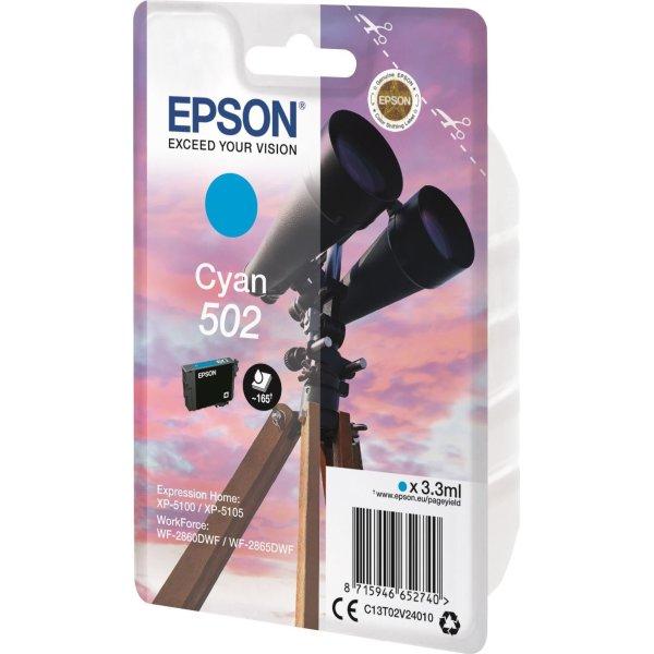 Epson T502 blækpatron cyan, 3.3ml
